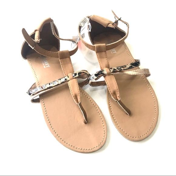 Girls Metallic Leopard Print Sandals